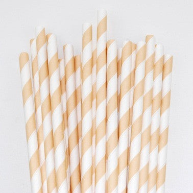 Paper Straws - Ivory Cream Stripes