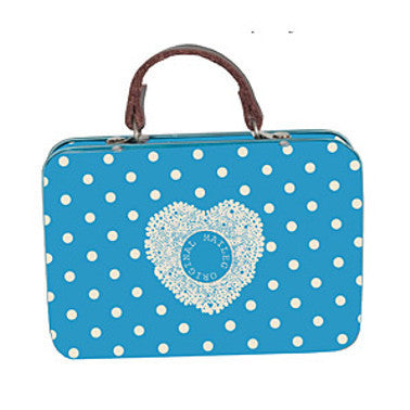 Metal Suitcase Blue Dot