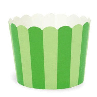 Green Stripes Baking Cups