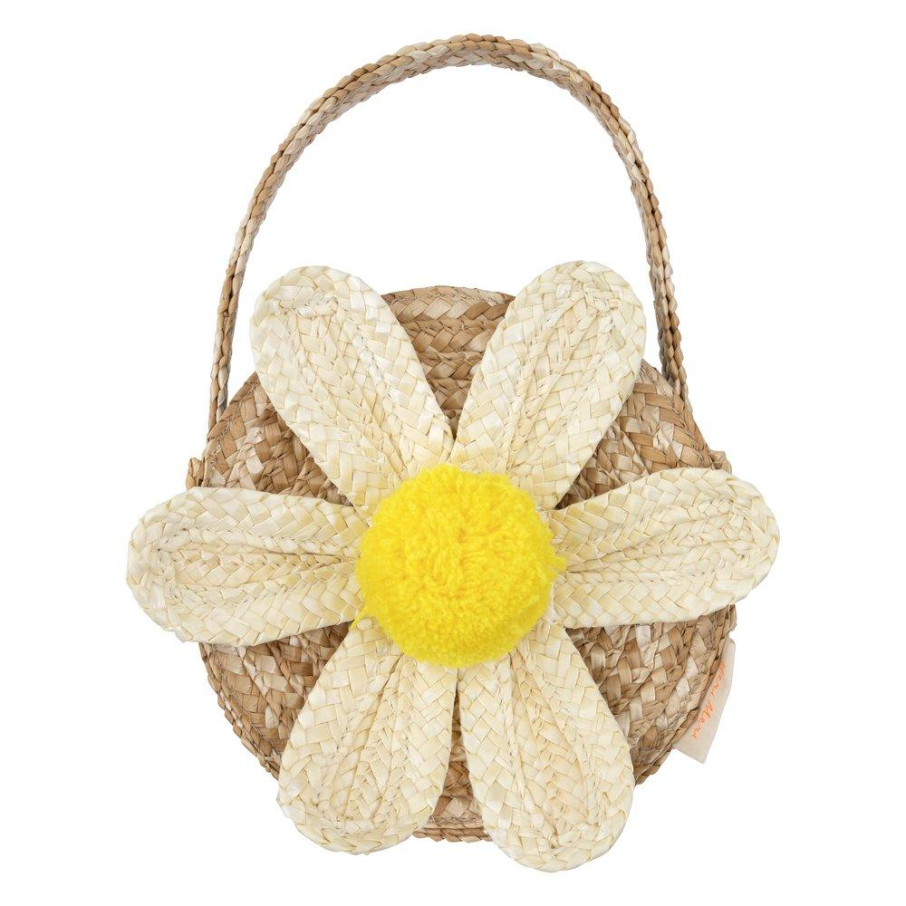 White Daisy Straw Bag