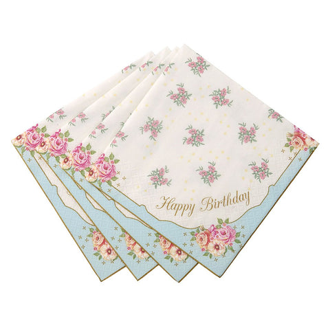 """Happy Birthday"" Floral Napkins"