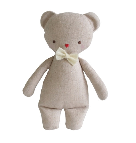 Mini Linen Bear Rattle