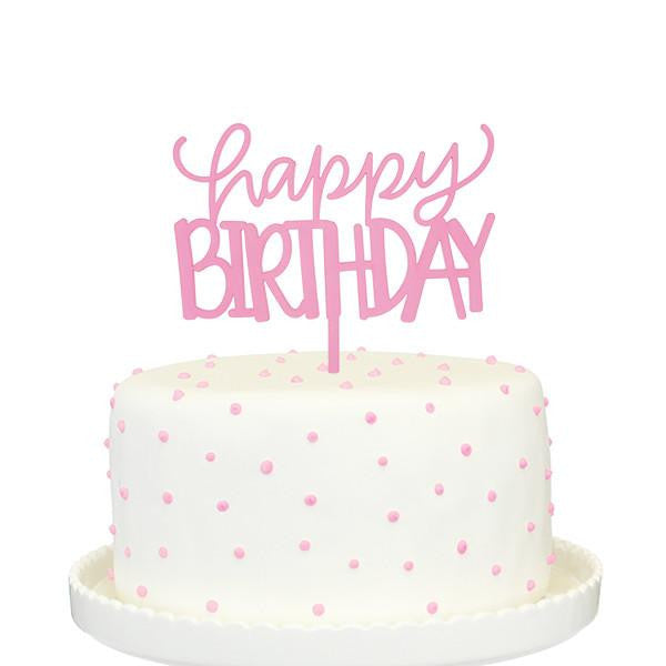 Happy Birthday Cake Topper - Pink Frost