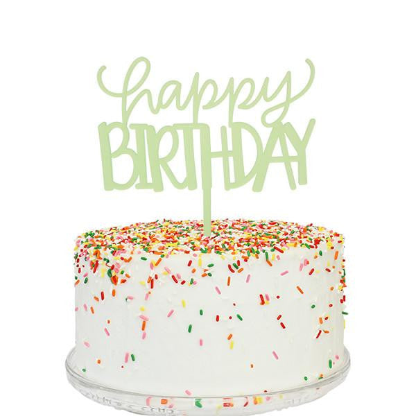 Happy Birthday Cake Topper - Green Frost
