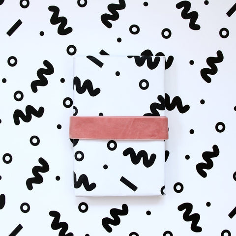 Black & White Squiggle Gift Wrap Roll