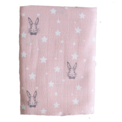 Pink Bunny Star Muslin Swaddle