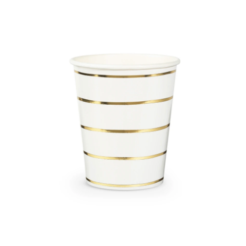 Frenchie Metallic Gold Striped Cups