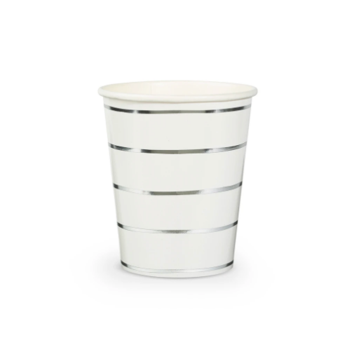 Frenchie Metallic Silver Stripe Cups