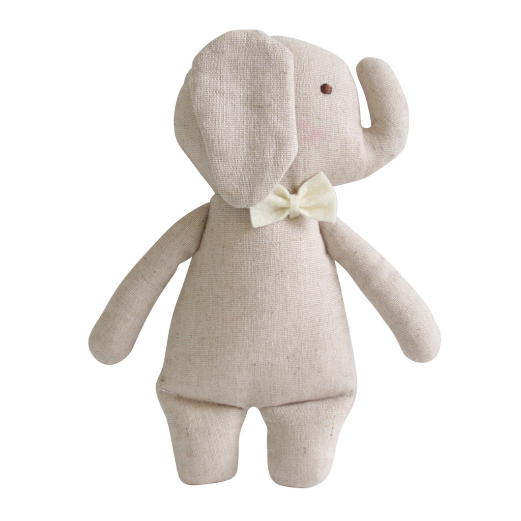 Mini Linen Elephant Rattle