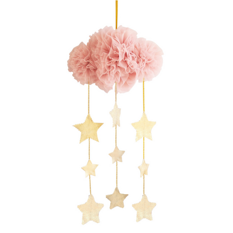 Blush & Gold Tulle Cloud Mobile