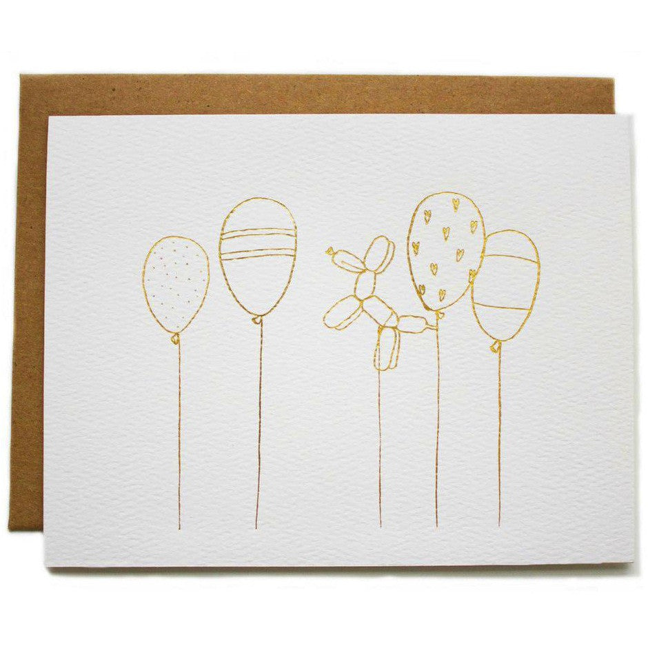 Gold Foil Balloons Card