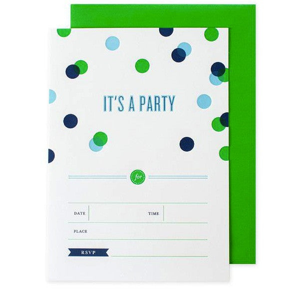 Confetti Invitations - Green