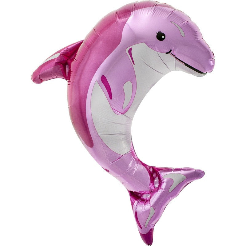 Pink Dolphin Balloon On A Stick