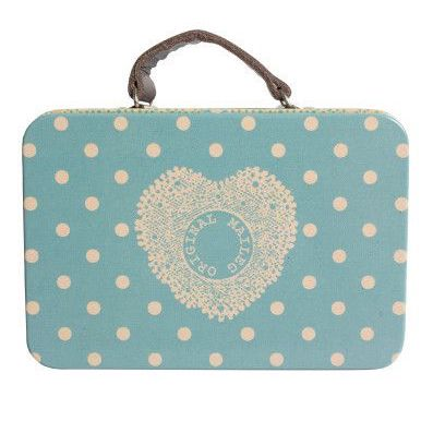 Light Blue Dot Mini Metal Suitcase