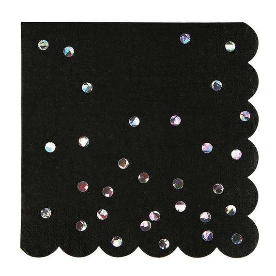 Black Iridescent Spot Napkins