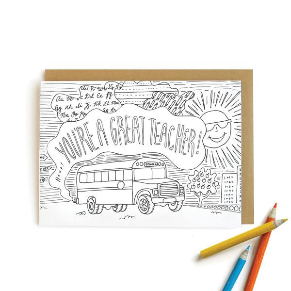 School Bus Teacher Card