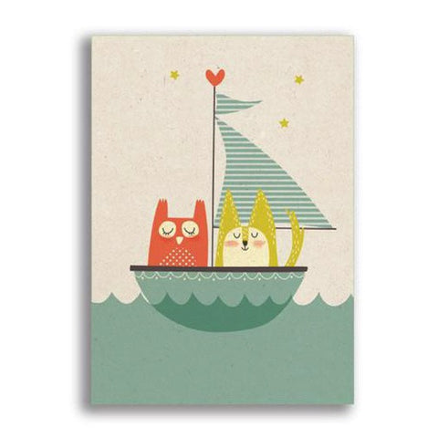 Owl & Pussy Cat Card