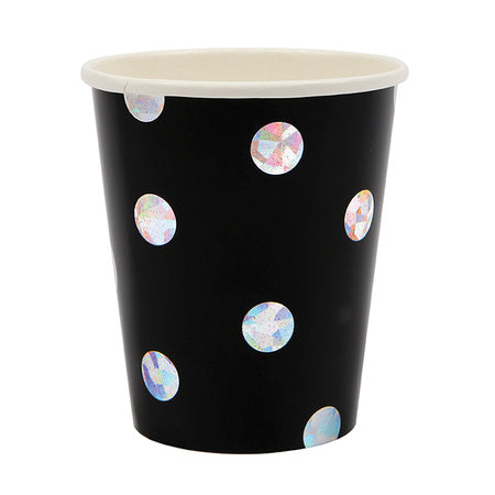 Black Iridescent Spot Cups