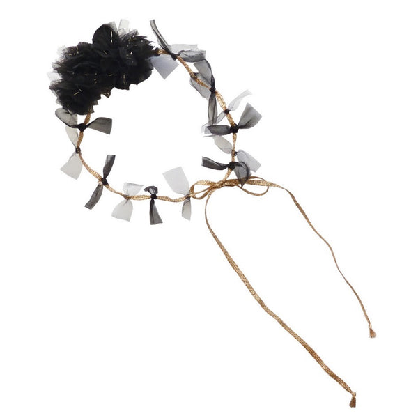 Princess Pom Pom Head Tie - Black