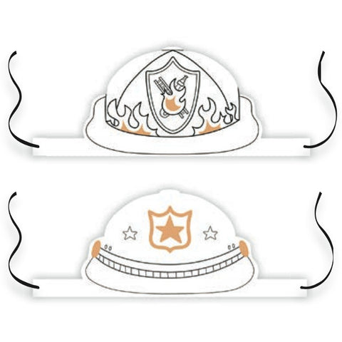 Color-In Hats - Firefighters / Police Officers
