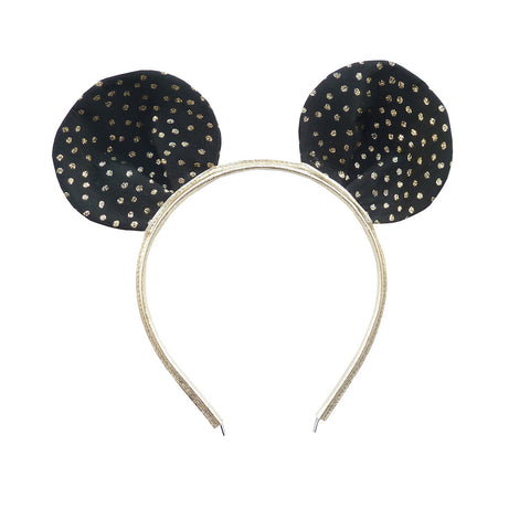 Black & Gold Mouse Ear Headband