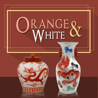 Orange and White Porcelain