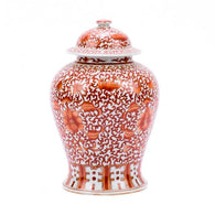 Beautiful Orange And White Twisted Lotus Porcelain Temple Jar 17""