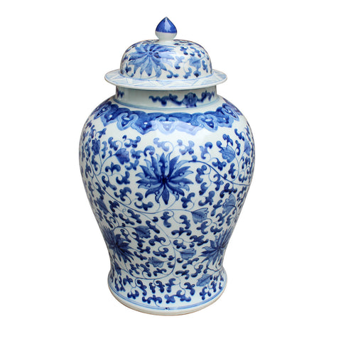 "Beautiful Blue and White Porcelain Temple Jar Twisted Lotus Motif 21"" Tall"