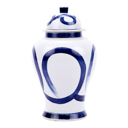 Blue and White Modern Brush Stroke Style Porcelain Temple Jar 21""