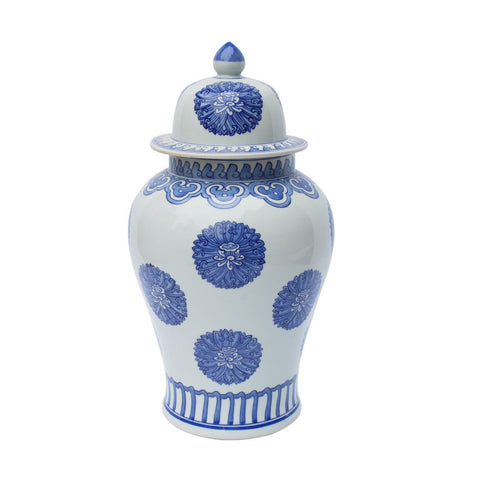 Blue and White Floral Emblem Style Porcelain Temple Jar 20""