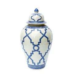 Blue and White Patterned Style Porcelain Temple Jar 23""