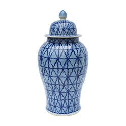 Blue and White Patterned Style Porcelain Temple Jar 24""