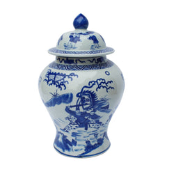 Blue and White Chinese War Theme Porcelain Temple Jar 14""
