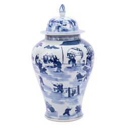 Blue and White School Scene Porcelain Temple Jar 27""