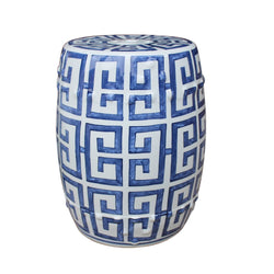 Blue and White Porcelain Geometric Motif Garden Stool 17""