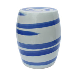 Blue and White Porcelain Brush Stroke Garden Stool 17""