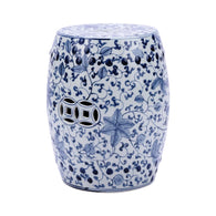 Blue and White Porcelain Twisted Vine Lotus Garden Stool 18""