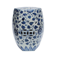 Blue and White Porcelain Hexagonal Twisted Vine Lotus Garden Stool 18""