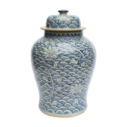 Blue and White Floral Waves Motif Porcelain Temple Jar 18""