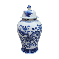 Blue and White Floral Dragon Style Porcelain Temple Jar 24""