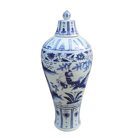 Blue and White War General Motif Large Tall Porcelain Temple Jar 42""