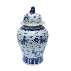 Blue and White Foo Dog Motif Large Porcelain Temple Jar 34""