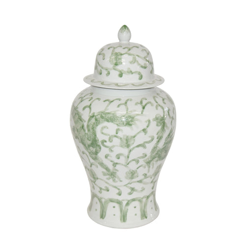 Beautiful Green and White Porcelain Medallion Shaped Temple Jar Dragon Lotus 19""