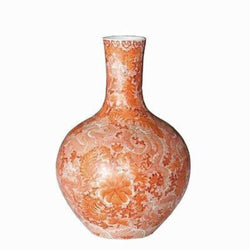 Orange and White Dragon Motif Porcelain Globular Vase 21""