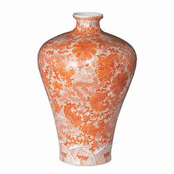 Orange and White Dragon Motif Porcelain Bottleneck Vase 22""