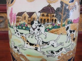 Vintage Porcelain Tobacco Box with Hunting Scene 6""