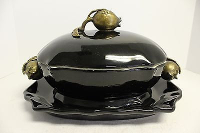 Elegant Black Porcelain Tureen with Ormolu/Brass Accents and Tray/Plate