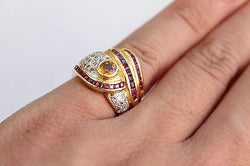 18K Superb 0.55 ct Yellow Sapphire 18K Ring 0.94ct Ruby 0.25ct Diamond SZ 6.5