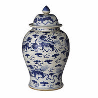 "Blue & White Large Porcelain Foo Dog Motif Temple Jar Ginger Jar 21"" Tall"