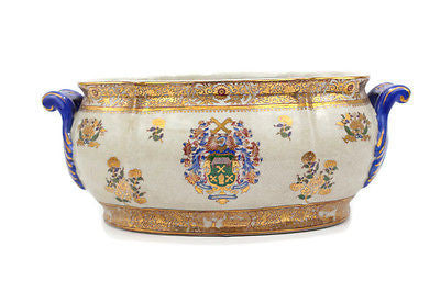 Beautiful European Style Chinoiserie Floral Pattern Porcelain Oval Basin Pot